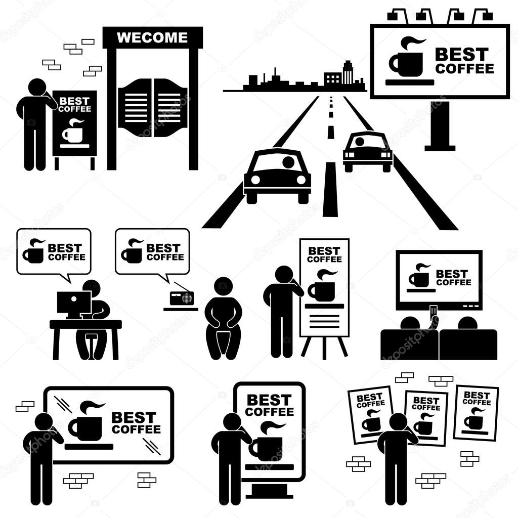 Advertisement Board Billboard Marketing Frame Stick Figure Pictogram Icon