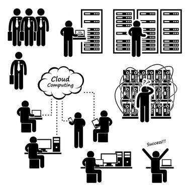 IT Engineer Technician Admin Computer Network Server Data Center Cloud Computing Stick Figure Pictogram Icon