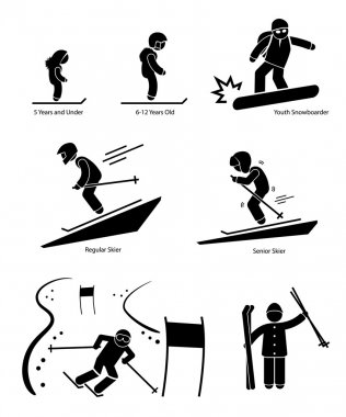 Skiers Ski Skiing People Age Category Division Stick Figure Pictogram Icon