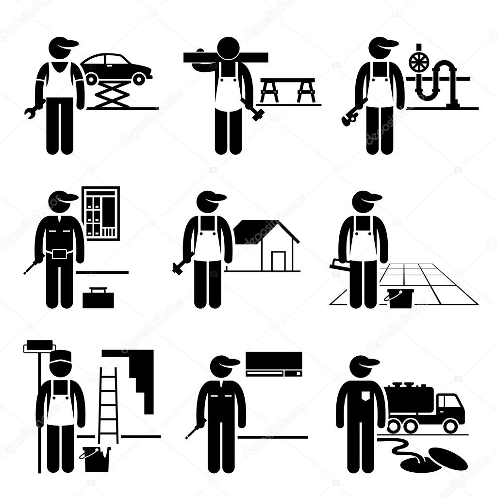 Handyman Labor Labour Skilled Jobs Occupations Careers - Car Mechanic, Carpenter, Plumber, Electrician, Roofer, Flooring, Painter, Air Conditioner Man, Septic Tank Service