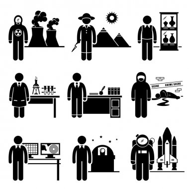 A set of pictograms representing the jobs and careers in science industry. They are nuclear scientist, archaeologists, museum curator, chemist, historian, forensic, meteorologist, astronomer, and astronaut. clip art vector