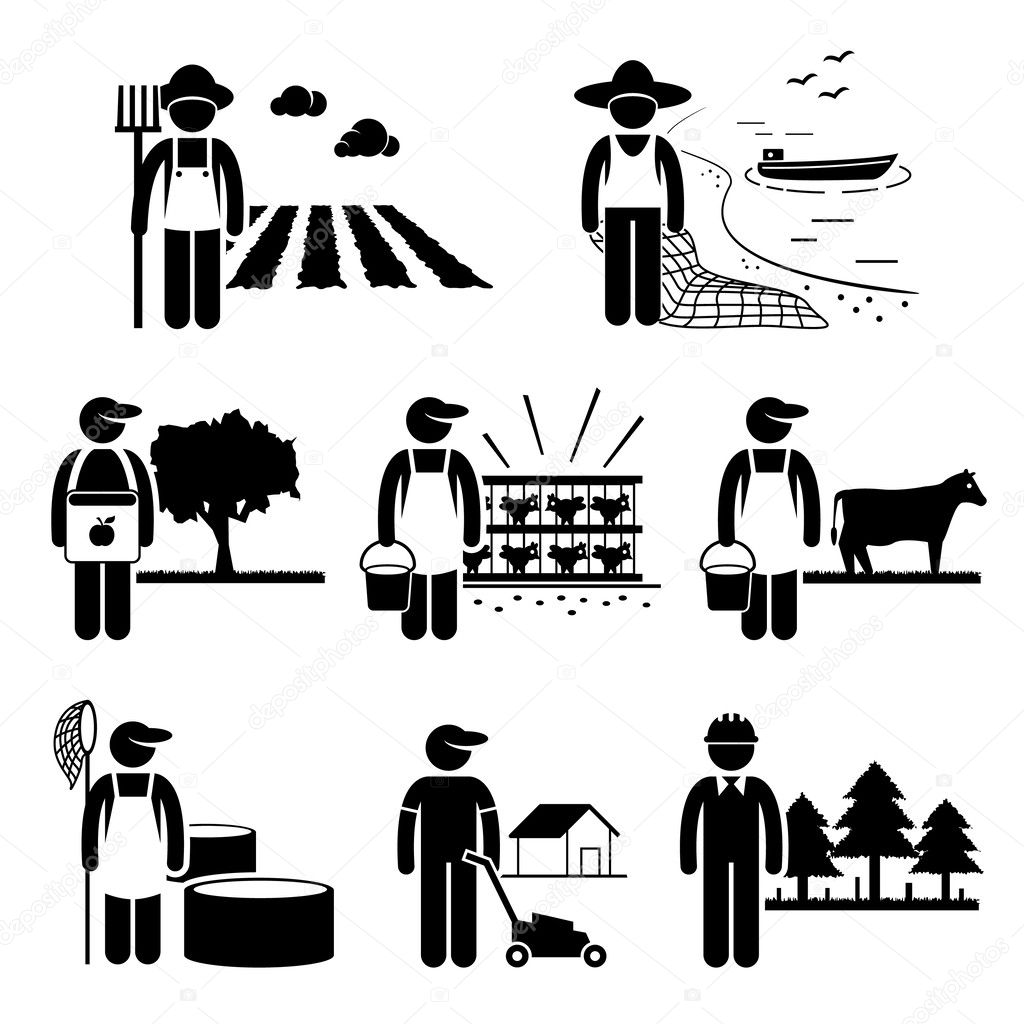 Agriculture Plantation Farming Poultry Fishery Jobs Occupations Careers - Farmer, Fisherman, Livestock, Gardener, Forestry - Stick Figure Pictogram