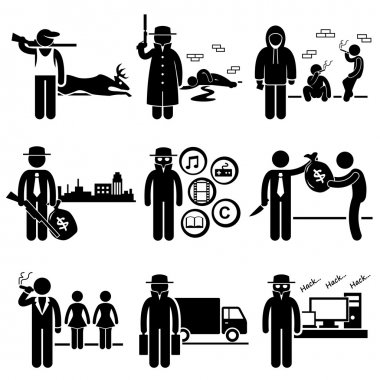 A set of people pictogram representing job profession in the industry of illegal activity and crime. They are poachers, killer, drug dealer, gangster, piracy, loan shark, pimps, smuggler, and hacker. stock vector