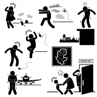 A set of pictograms representing the phobia of mouse, spider, height, cockroach, flight, and dentist. stock vector