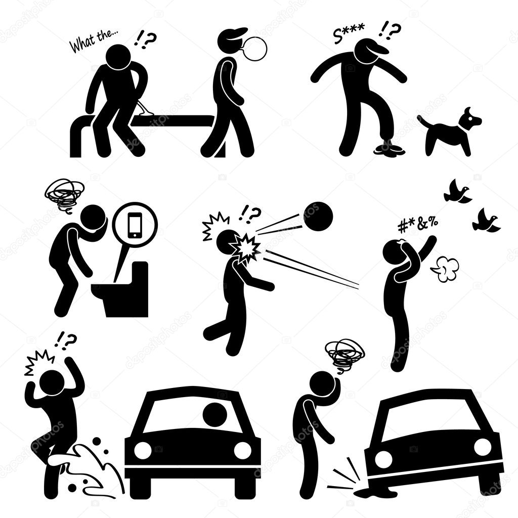 Unlucky Man Bad Luck People Karma Stick Figure Pictogram Icon