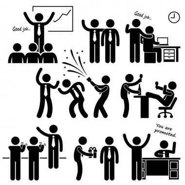 Happy Boss Rewarding Employee Stick Figure Pictogram Icon