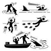 Fotografie Wasser Meer Fluss Tier Angriff verletzt menschlichen Strichmännchen Piktogramm Symbol Fische