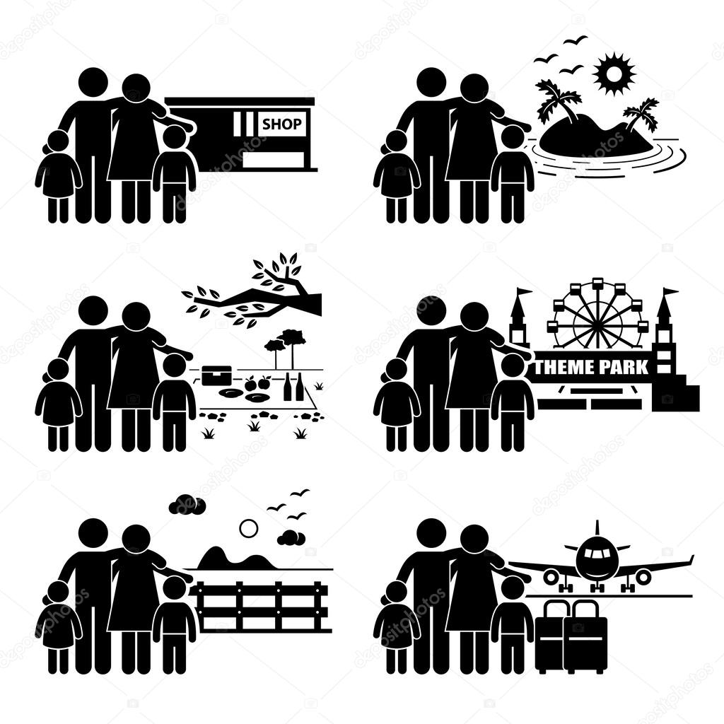 A set of human pictogram representing a family on a vacation at different places such as shopping mall, island, picnic, theme park, garden park, and airport. stock vector