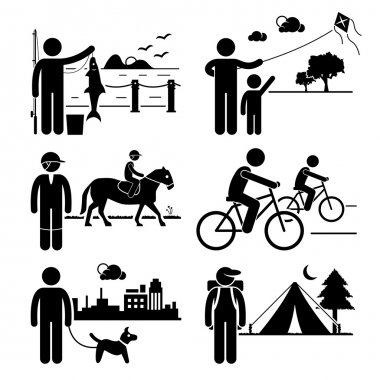 A set of human pictogram representing man recreational outdoor activities (fishing, kite surfing, horse riding, cycling, dog walking, and camping). stock vector