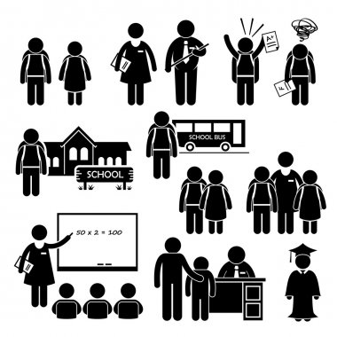 Student Teacher Headmaster School Children Stick Figure Pictogram Icon Clipart