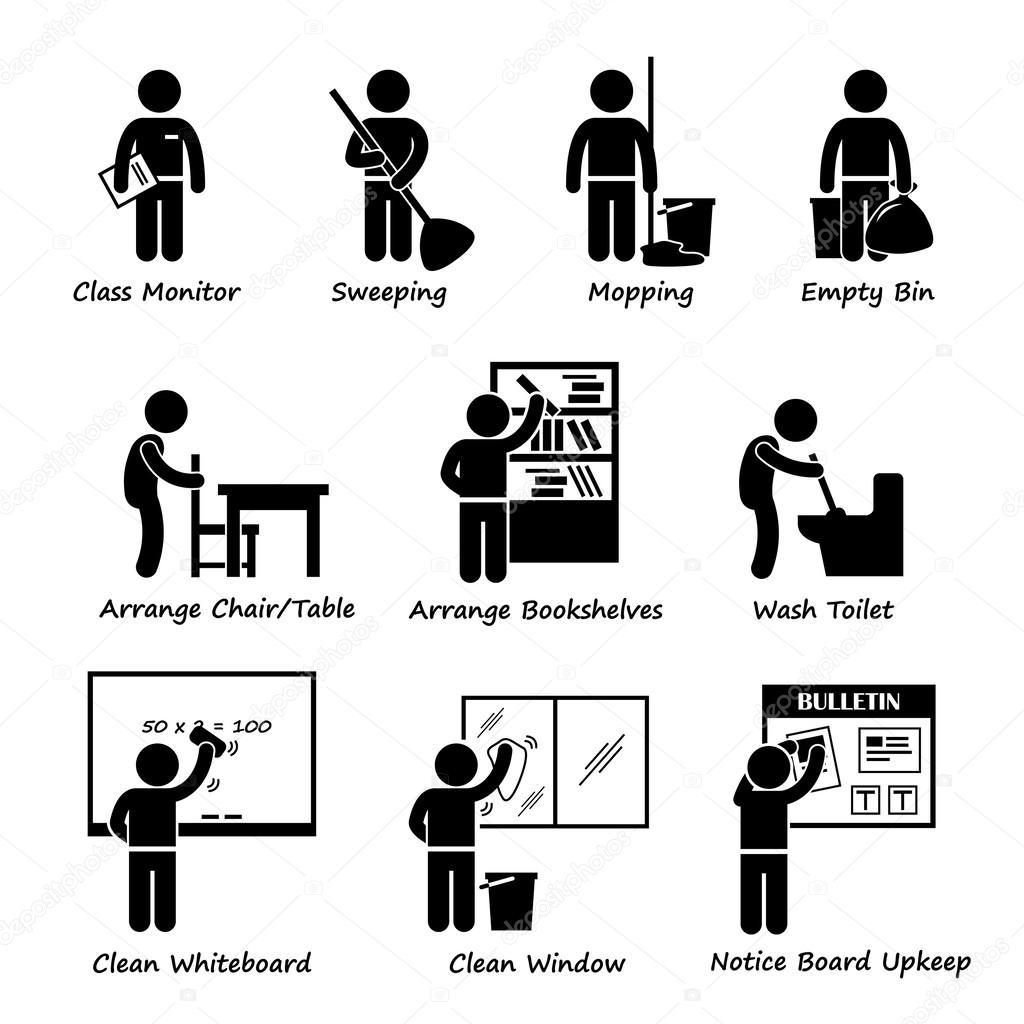 Tafel wischen clipart  Schüler Dienstplan Strichmännchen Piktogramm Symbol Cliparts ...