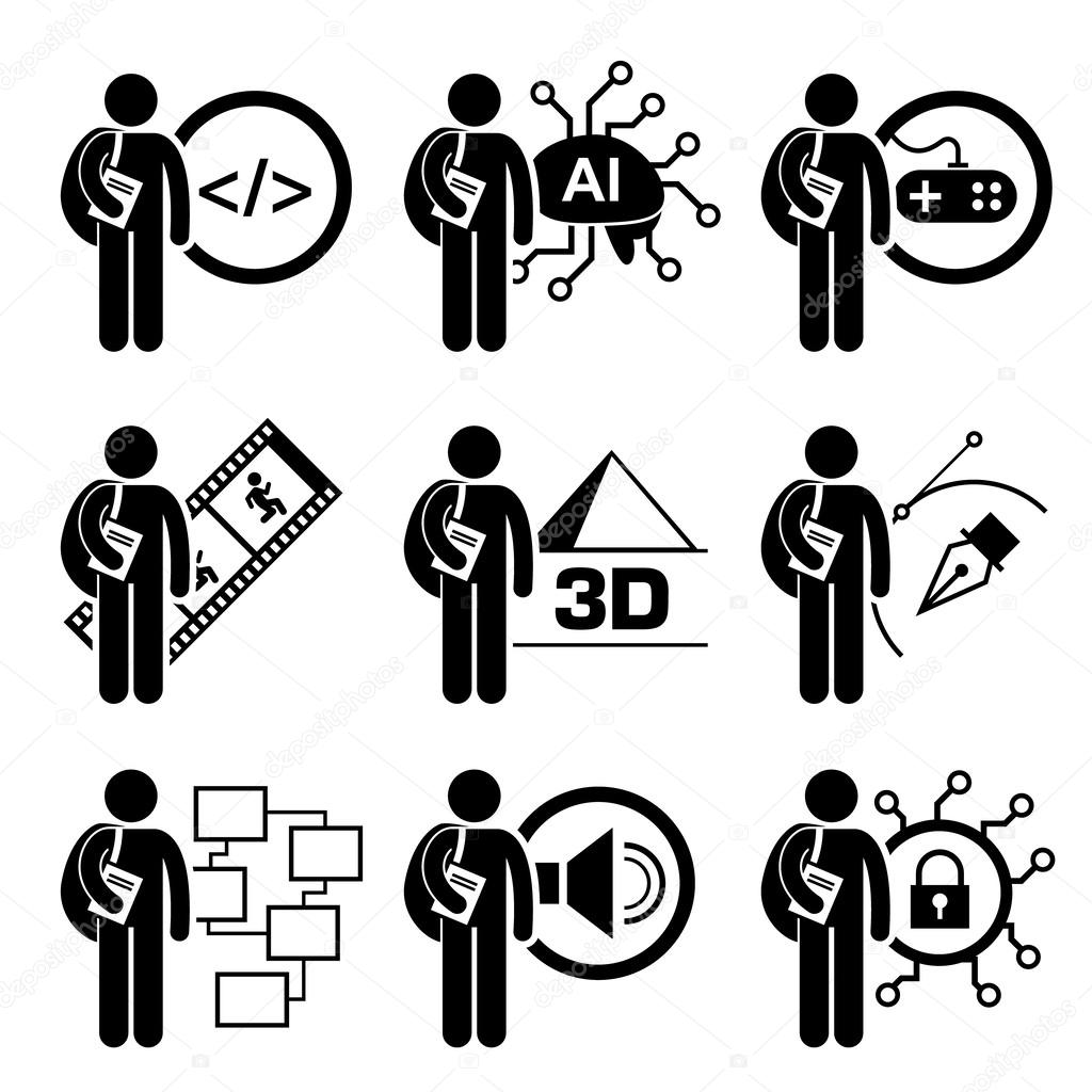 Student Degree in Information Technology - Computer Science, AI, Games Design, Multimedia Animation, 3D, Graphic Designer, Security Management  - Stick Figure Pictogram Icon Clipart