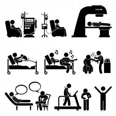 A set of human pictograms representing patient in hospital for dialysis, chemotherapy, radiation therapy, animal assisted therapy, music therapy, shock therapy, psychology consulting, and physiotherapy. stock vector