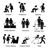 láska pár manželství problém potíže panáček piktogram ikony kliparty