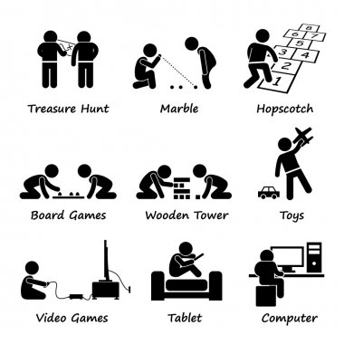 Children Playing Traditional and Modern Games Stick Figure Pictogram Icon Clipart