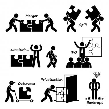 Corporate Company Business Concept Stick Figure Pictogram Icon Cliparts
