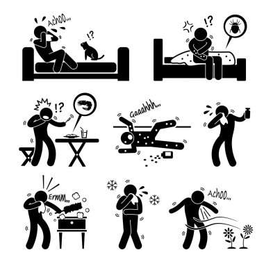 Allergy Reactions of Animal Food Environment on Human Stick Figure Pictogram Icon Cliparts