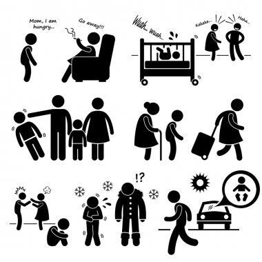 A set of human pictogram representing neglected child. This includes negligence of food, ignoring, bias, shuttling, emotional support, improper clothing, and leaving a baby in the car. clip art vector