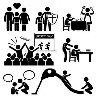 Children Needs Parent Love Supports Stick Figure Pictogram Icon Cliparts