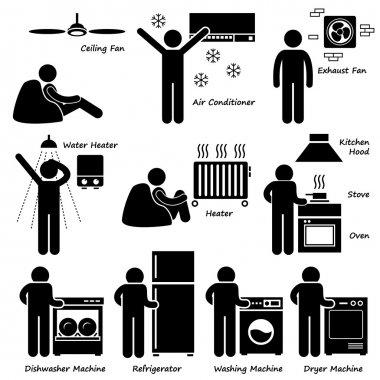Home House Basic Electronic Appliances Stick Figure Pictogram Icon Cliparts