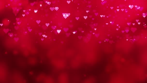 Bokeh background with falling red hearts