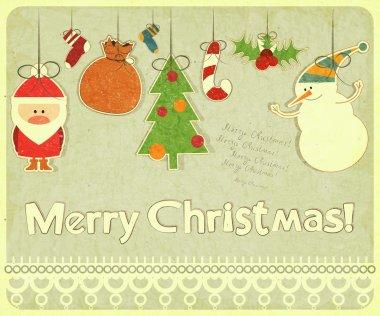 Old Christmas postcard with Christmas-tree decorations