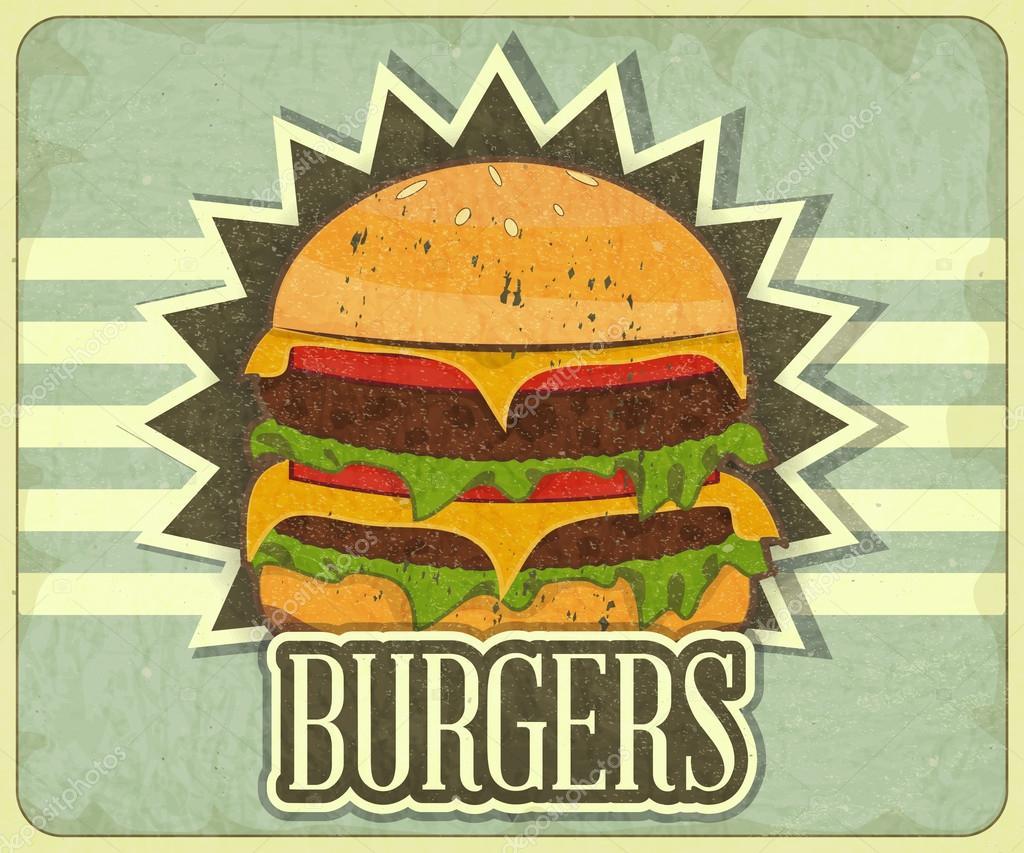 Retro cover for fast food menu stock vector elfivetrov for Imagenes retro vintage