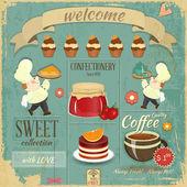 Café cukrárna nabídka retro design