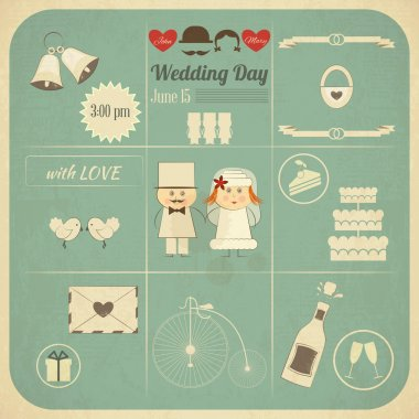 Wedding Invitation Infographics Retro Card