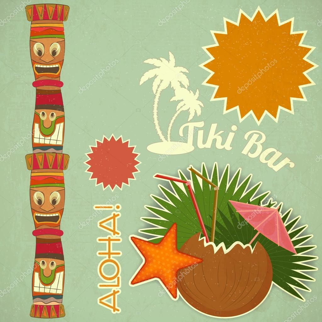 Vintage hawaiian tiki postcard stock vector elfivetrov 24874245 vintage hawaiian tiki postcard invitation to tiki bar with place for text vector illustration vector by elfivetrov stopboris Choice Image