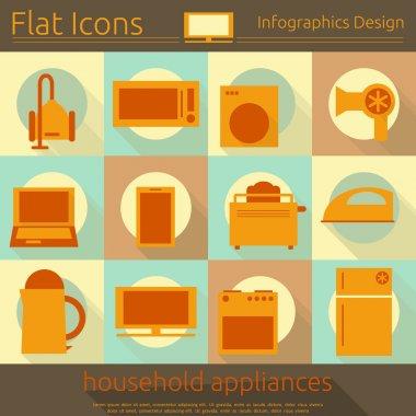 Flat Home Appliances Icons Set