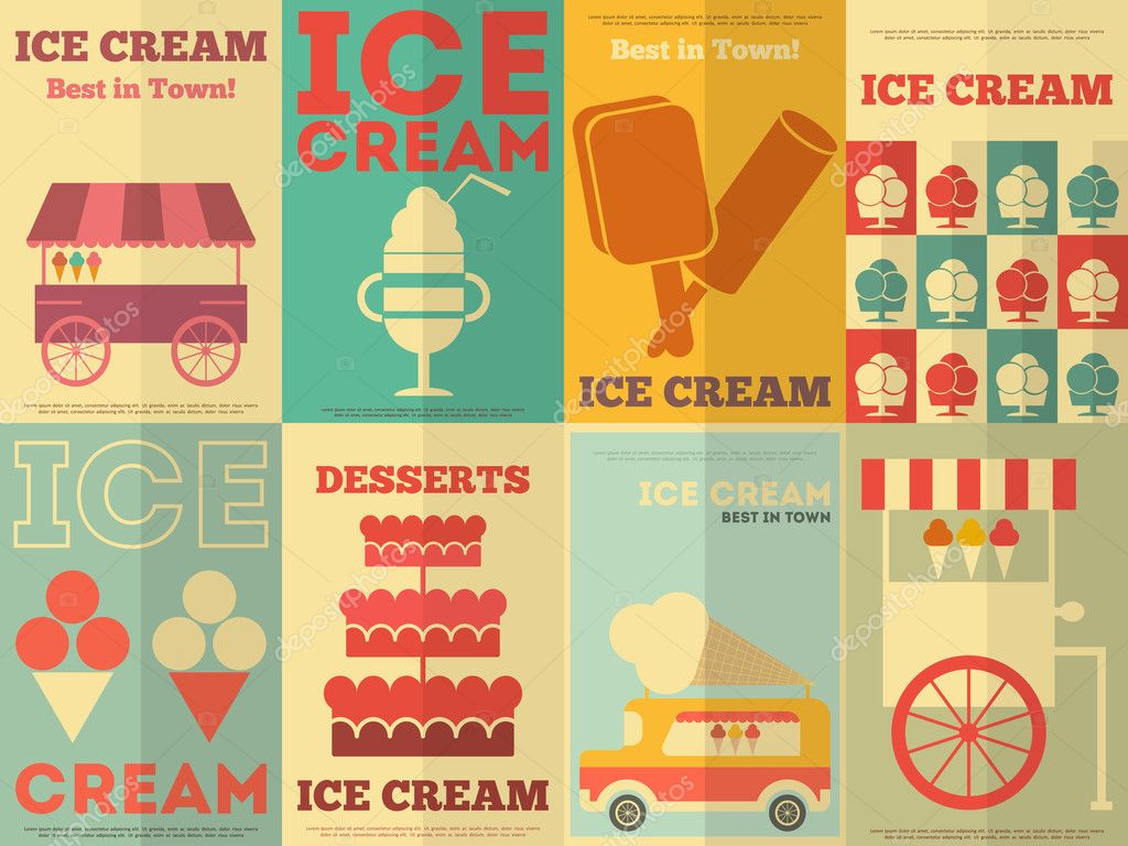 Design poster ice cream - Ice Cream Retro Posters Collection In Flat Design Style Vector Illustration Vector By Elfivetrov