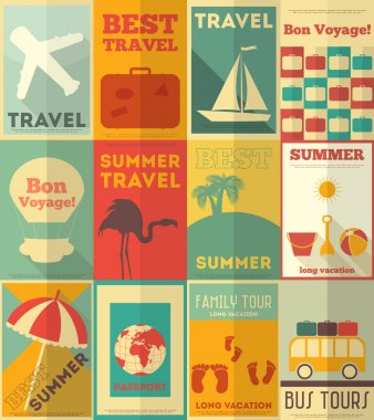Flat Travel Posters Set