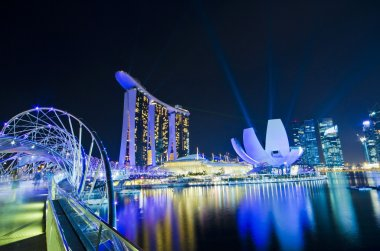 SINGAPORE - JUNE 27: The Marina Bay Sands resort and Helix Bridg