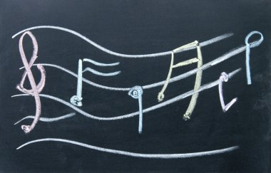 Staff notation sign drawn with chalk on blackboard