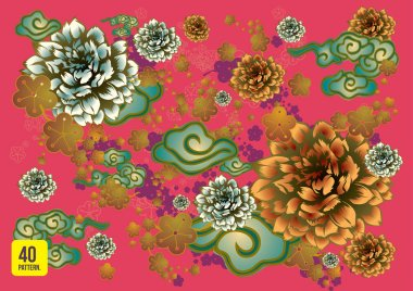 Seamless vintage tropical flower