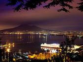 Fotografie Night View of Naples and Mount Vesuvius from the panoramic road