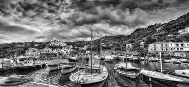 Massa Lubrense, italian fishing village Panoramic Black White