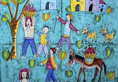Ceramic tiles of Vietri sul Mare representative apple picking