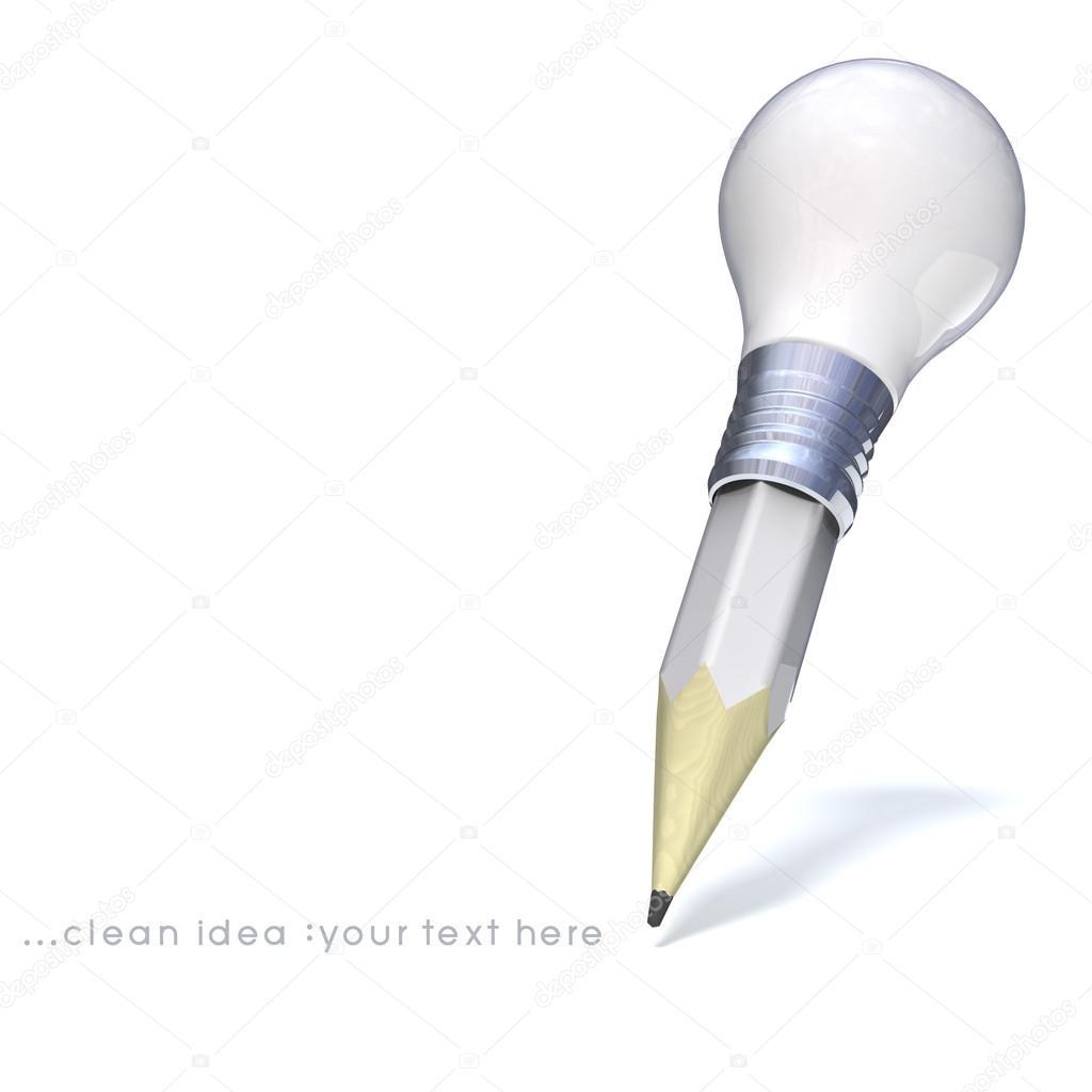 Glühbirne Bleistift Und Gute Idee Stockfoto Thaikrit