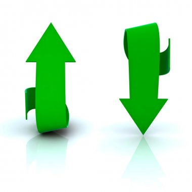 Beautiful green arrows in both directions, up and dow