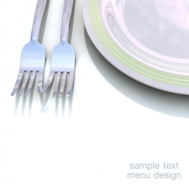 Plate and fork for the design of the menu.