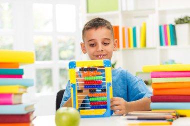 Boy studying math