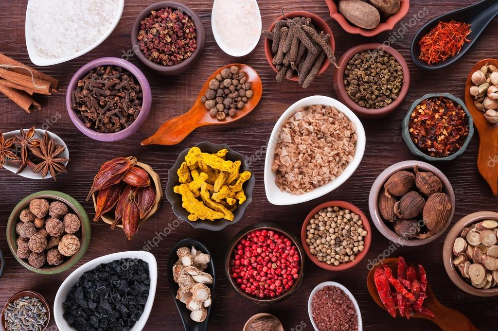 Large set of spices, seasonings and salt