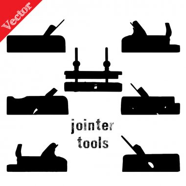 Collection of silhouettes antique woodworking tools, isolated on white