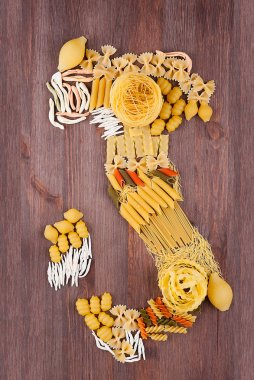 Map of Italy made of different varieties of pasta
