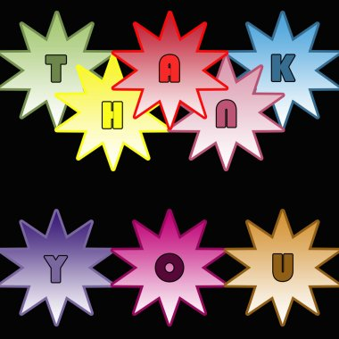 Illustration of THANK YOU in colorful stars