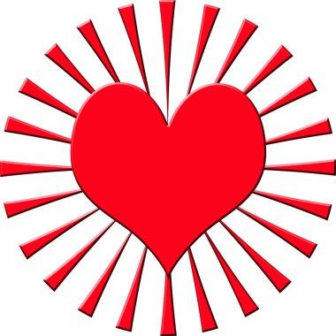 Illustration of heart with sunburst