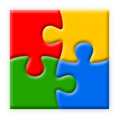 Four colorful puzzles illustration
