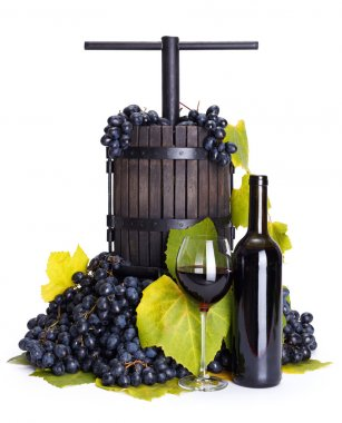 Manual grape pressing utensil with red wine